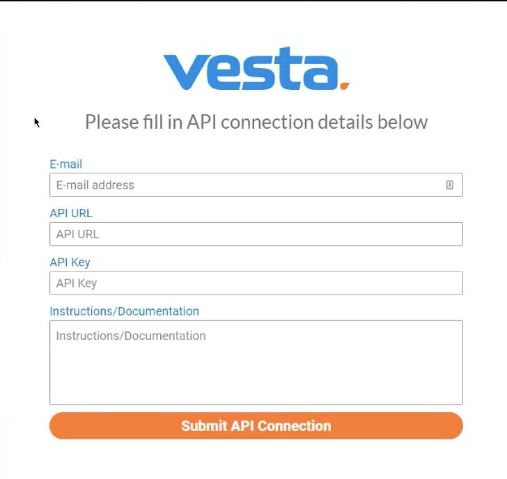 Vesta API Connection Details
