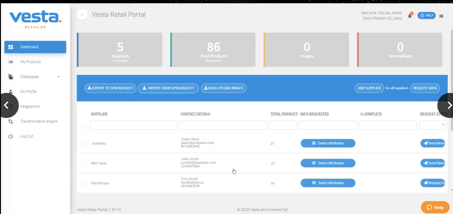 Vesta Dashboard Retail Portal