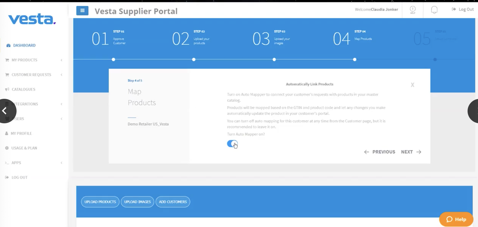 Vesta Supplier Portal Product Mapping