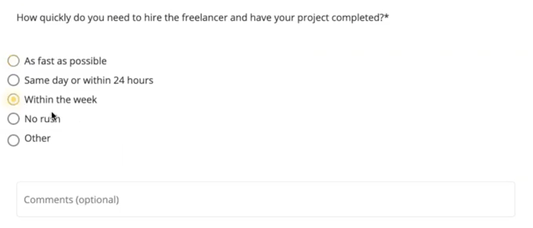 Freeup project Completion Timeline