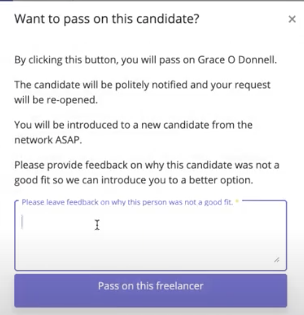 Freeup Pass on Candidate