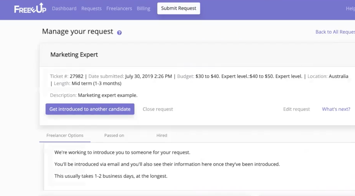 Freeup Manage Request