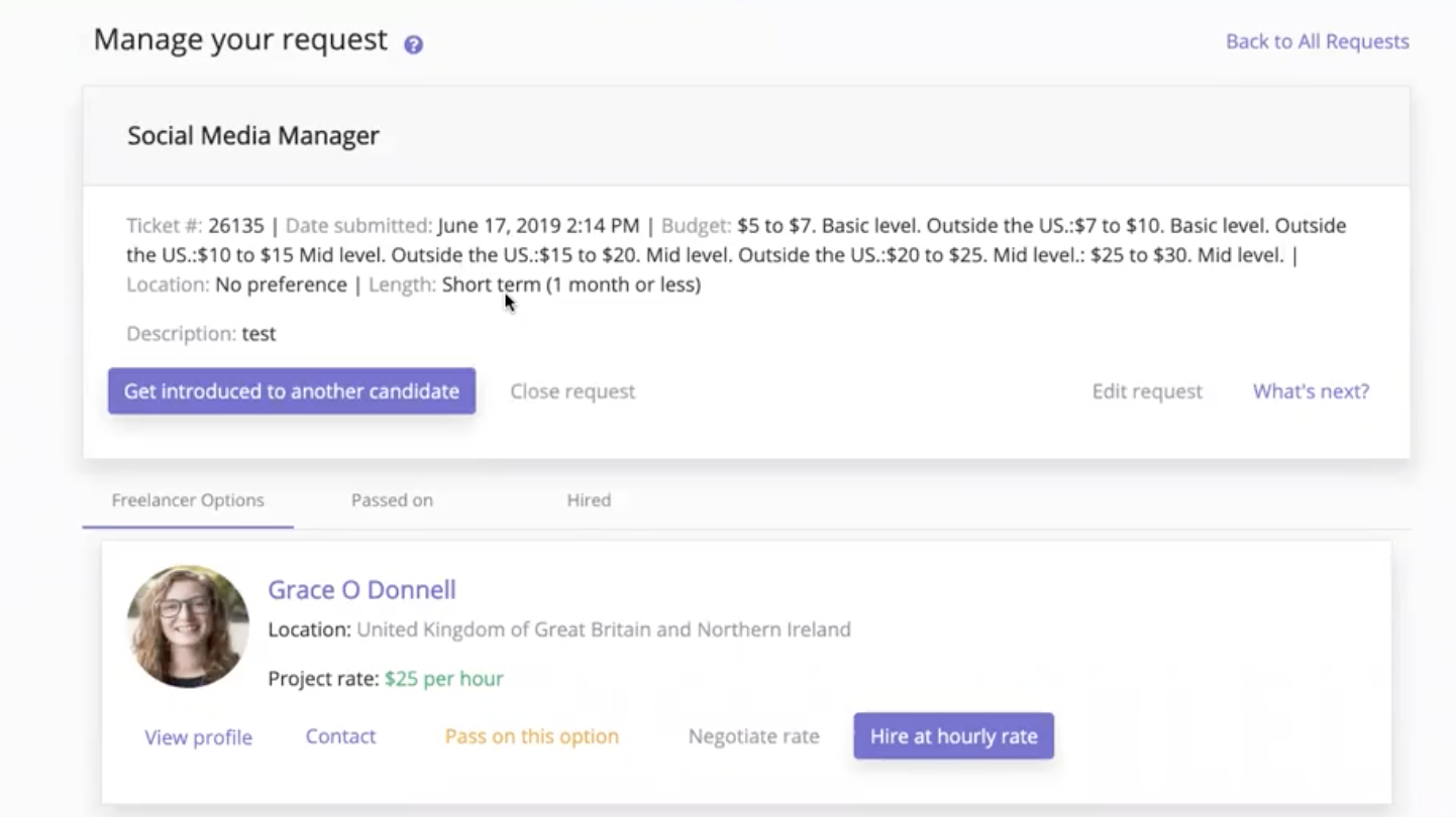 Freeup Manage Request Details