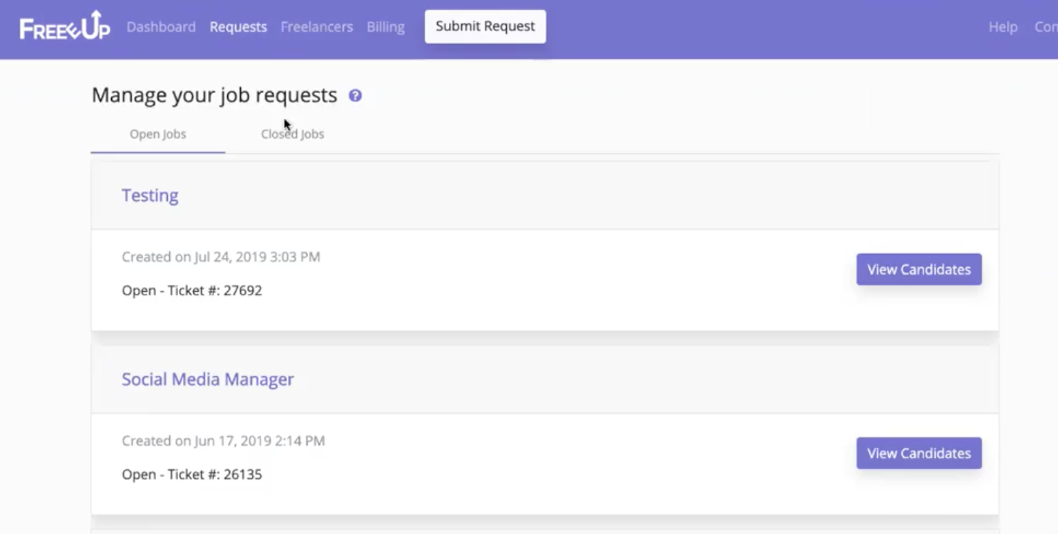 Freeup Manage Job Requests