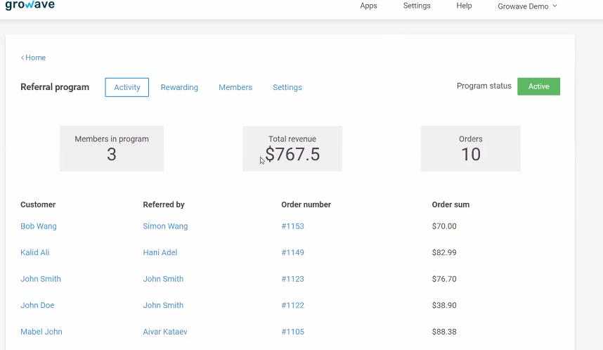 Growave Revenue Reporting Dashboard