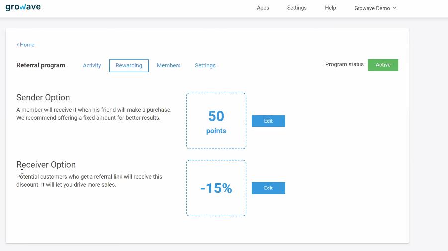 Growave Referral Program Setup Dashboard
