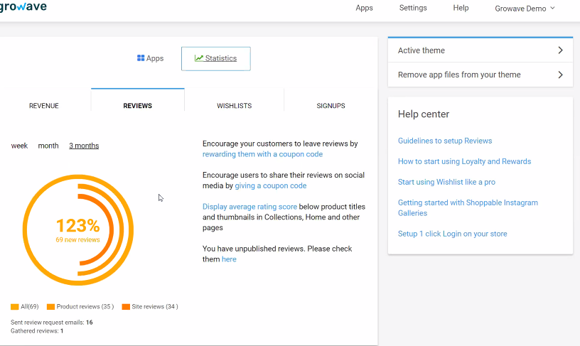 Growave Reviews Analytics