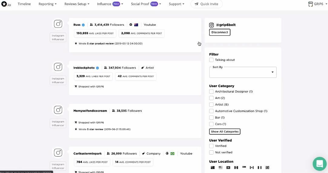 Reviews.io Influencer Dashboard