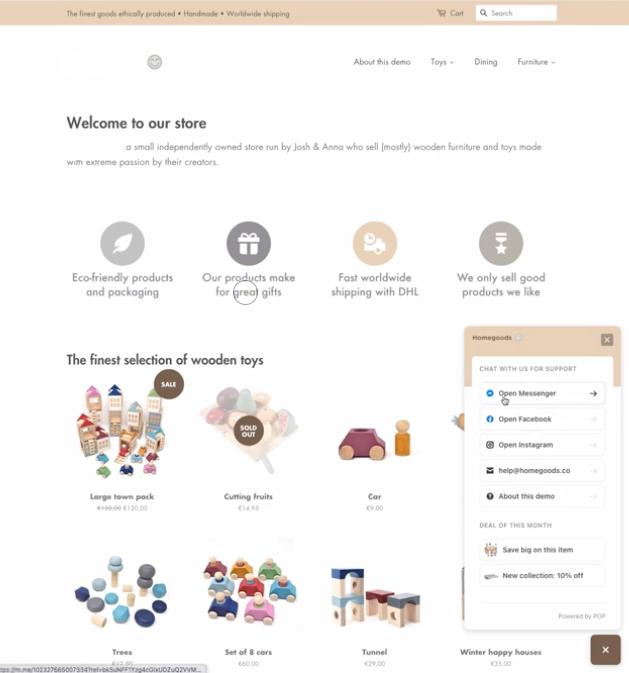 ShopPop Messenger Options