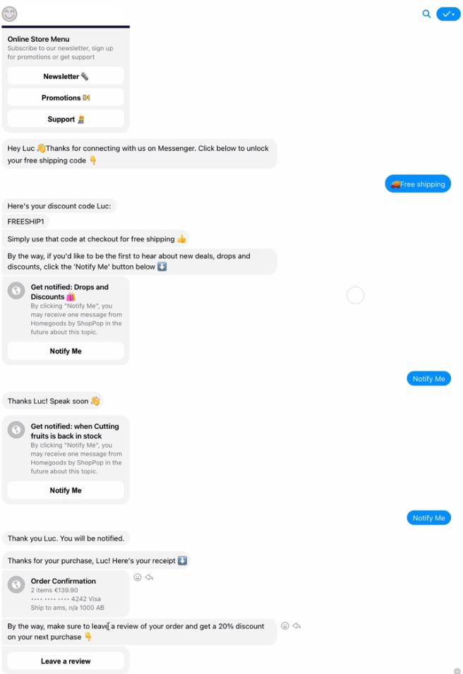 ShopPop Messenger Messages Examples