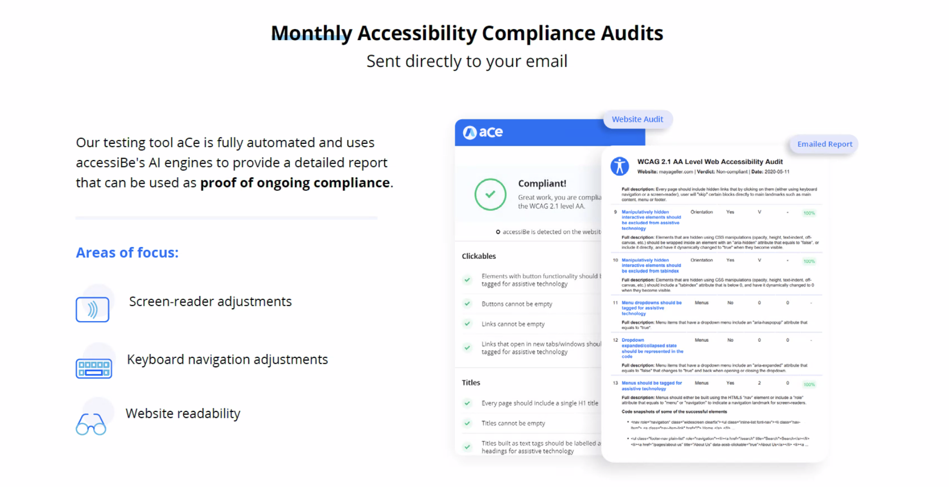 accessiBe monthly accessibility compliance audits