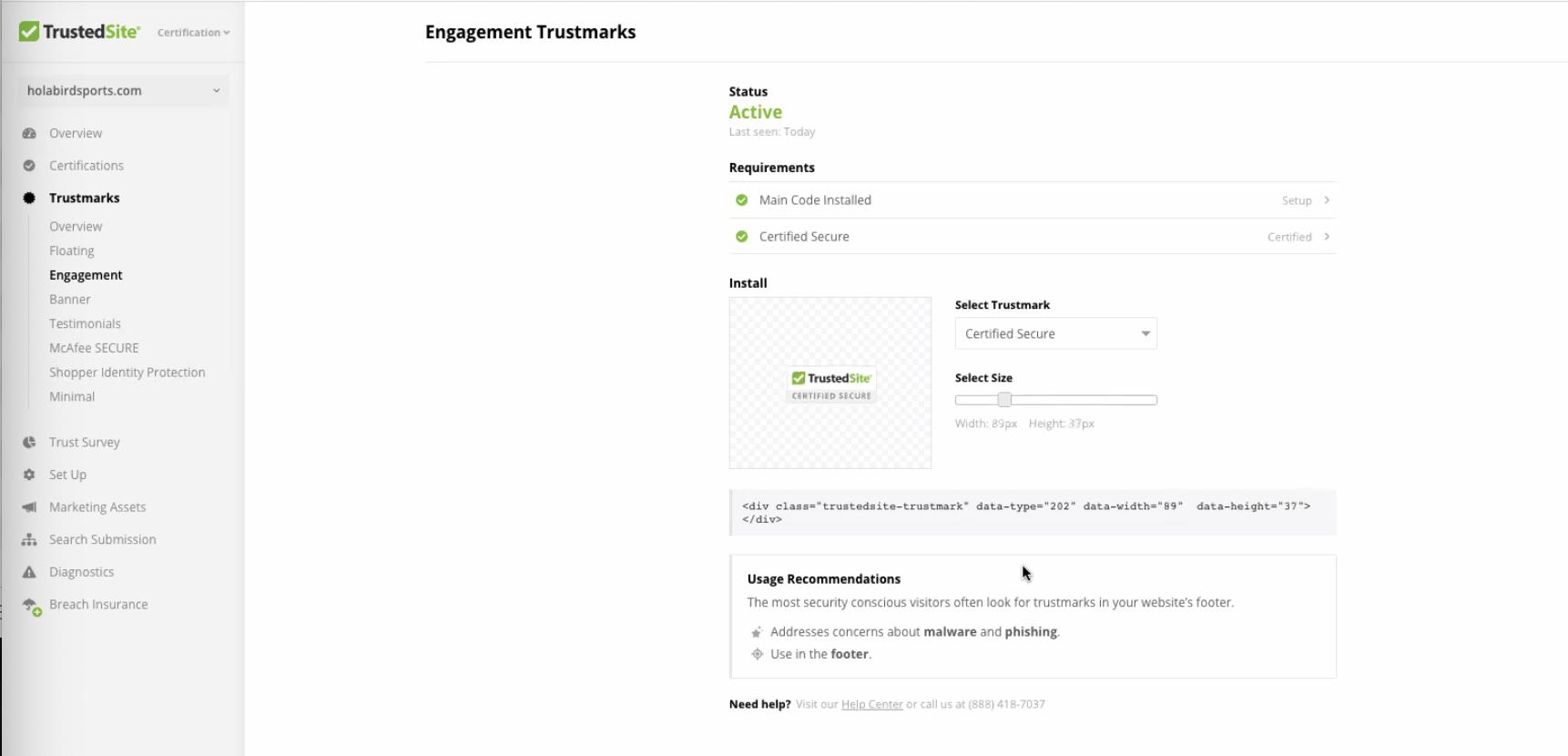 TrustedSite Engagement Trustmarks