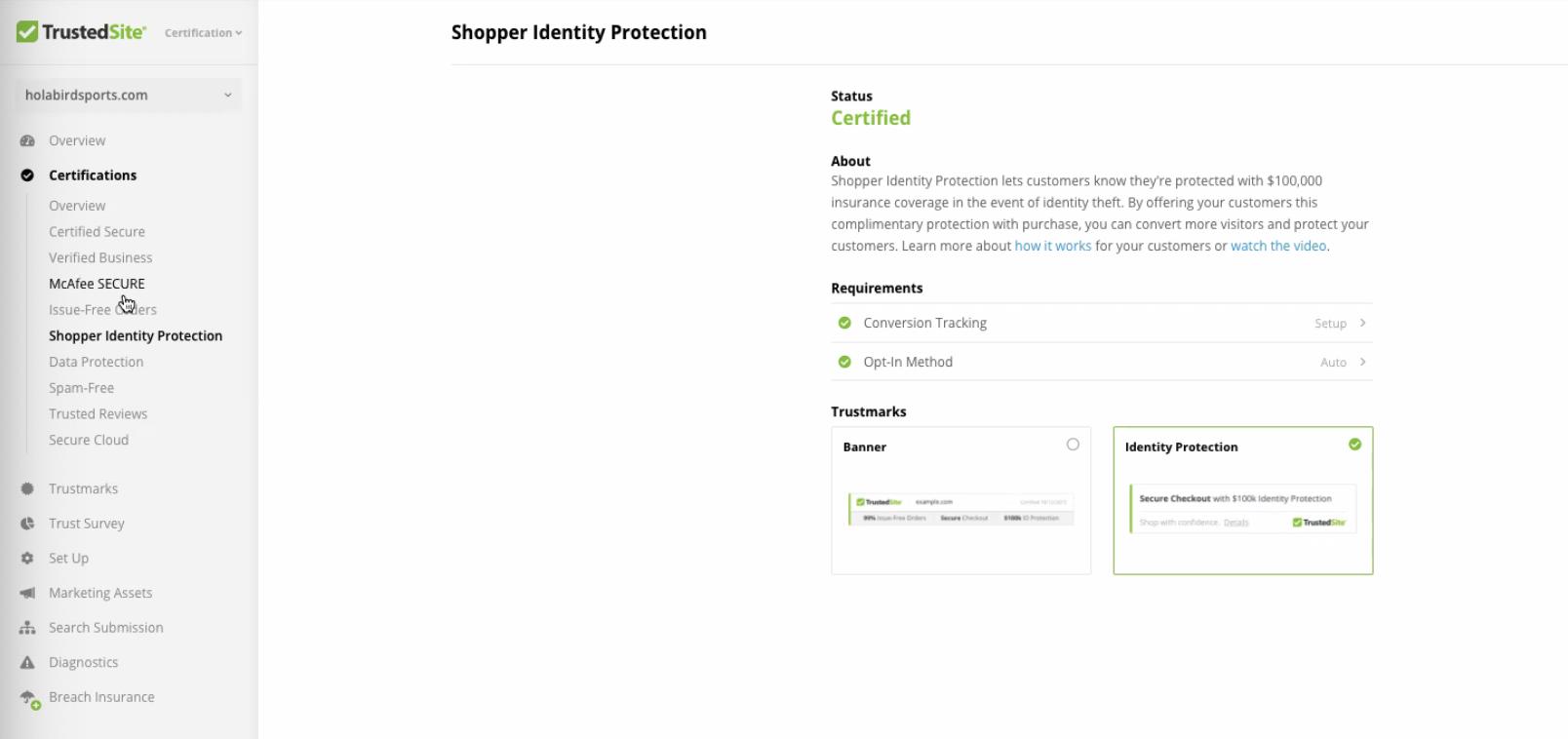 TrustedSite shopper identity protection