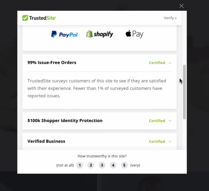 TrustedSite real customer trust mark details