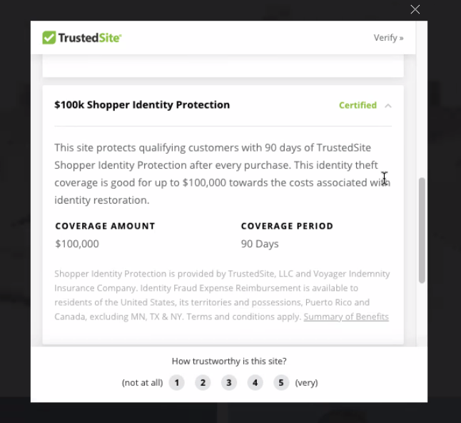TrustedSite $100k shopper identity protection