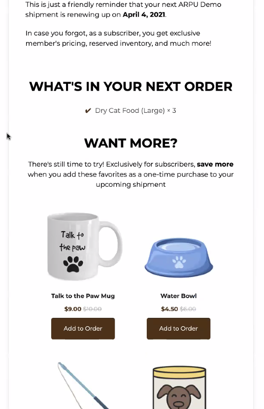 Arpu what is in your next order email