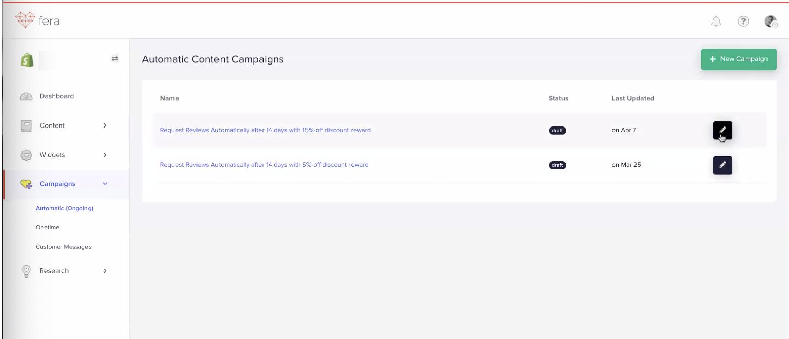 Fera Automatic Content Campaigns