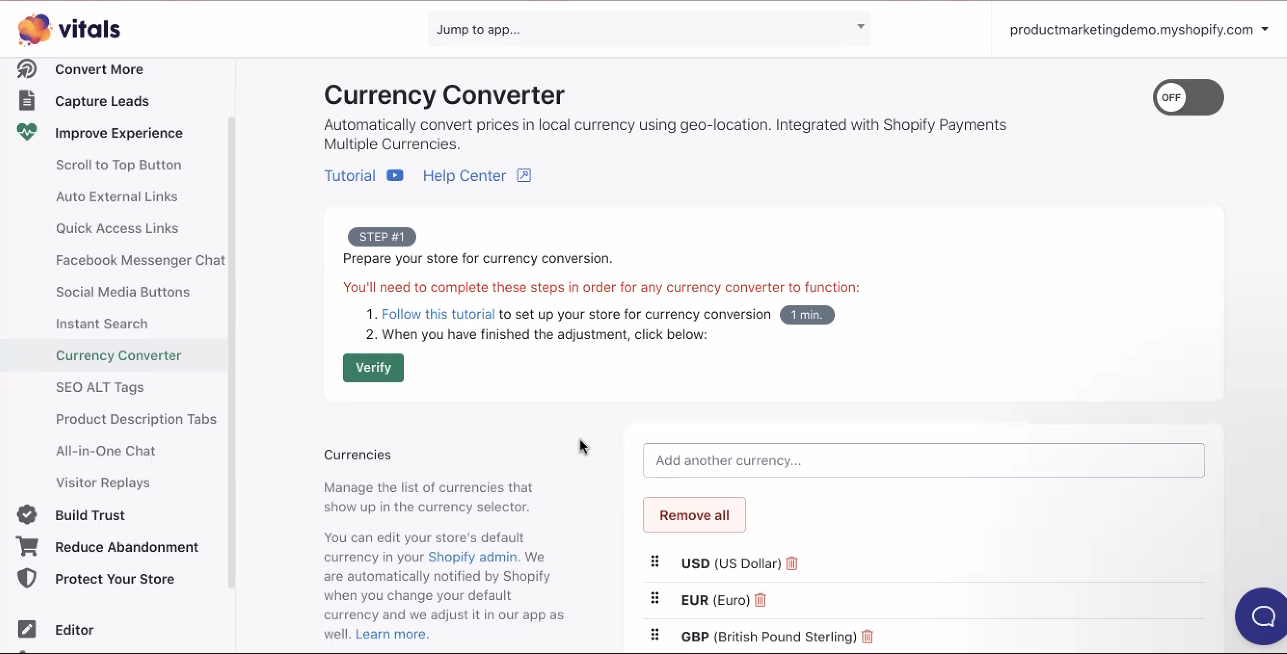 Vitals Currency Converter