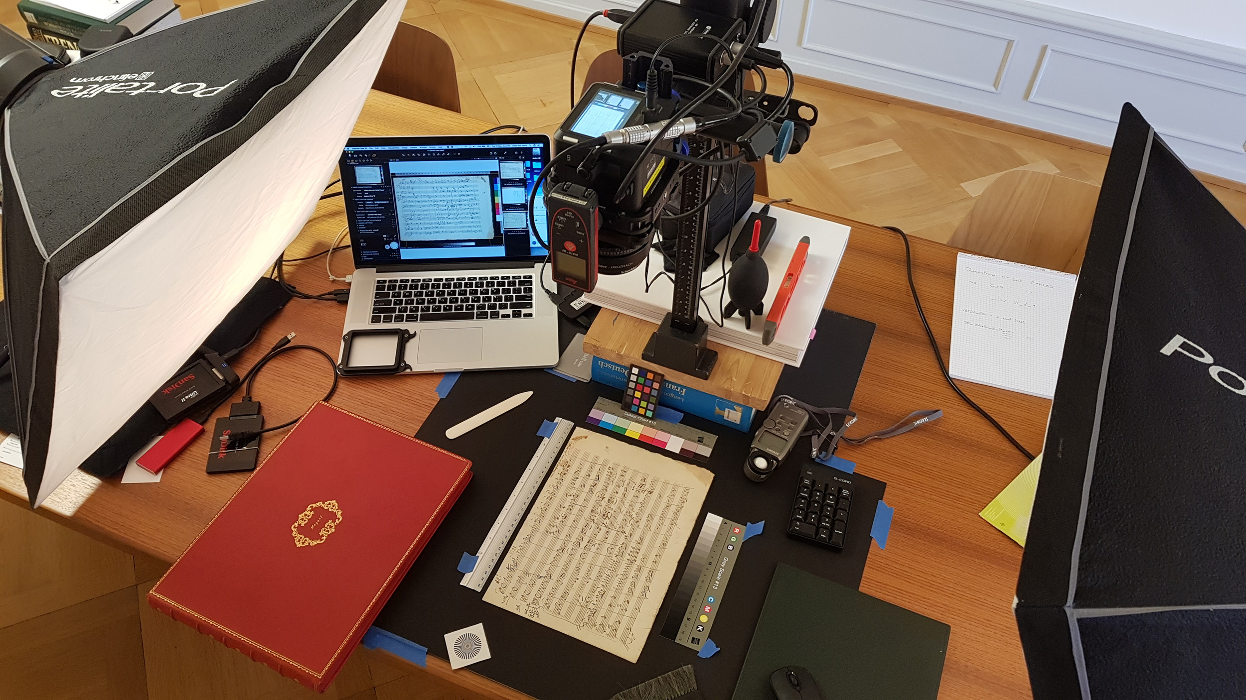 Up to 2000 pictures a day: Setup with the ALPA 12 TC for the work in the Paul Sacher Foundation in Basel. © Ardon Bar-Hama