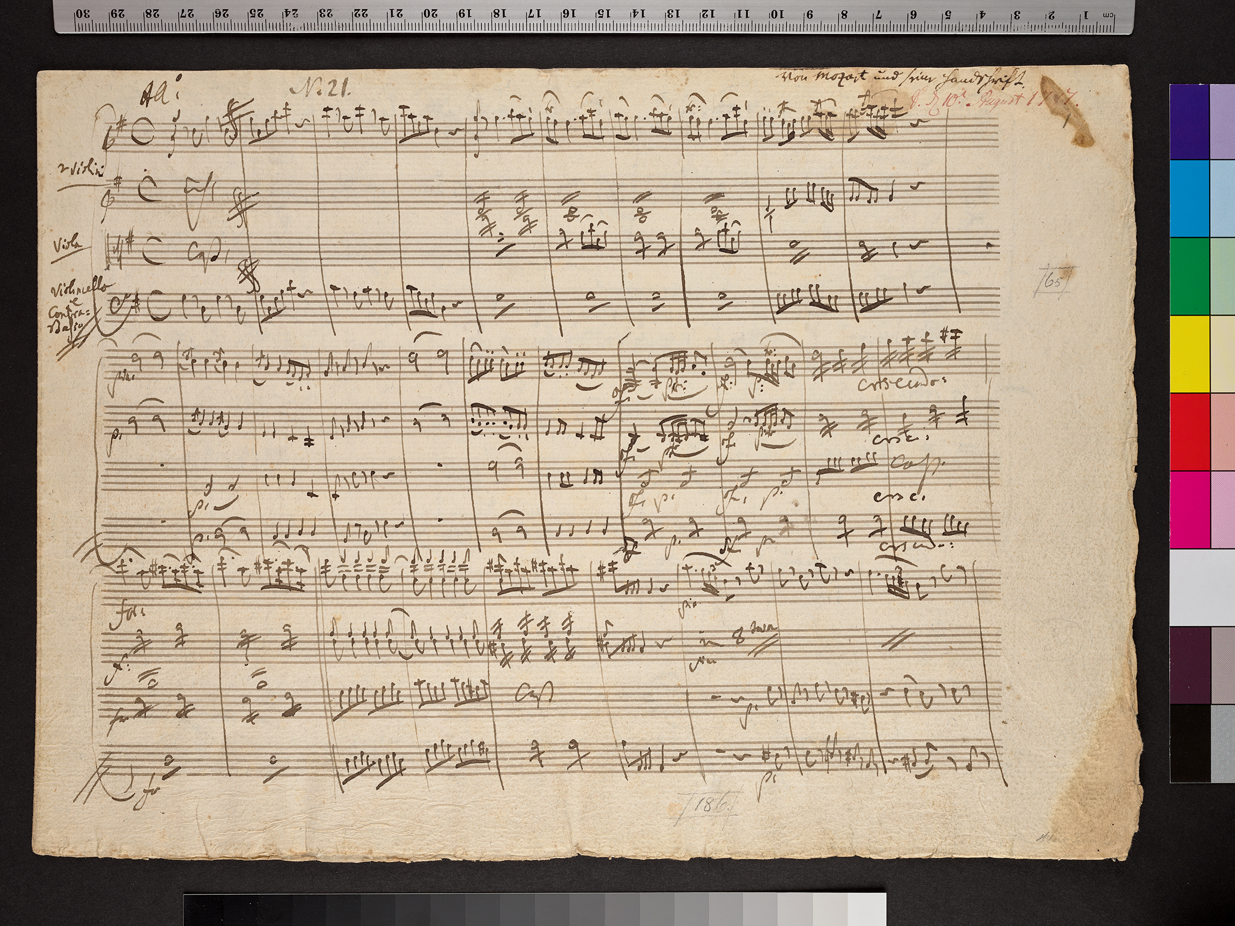 """Original of Mozart's """"Eine kleine Nachtmusik"""" from 1787 © Sammlung Arthur Wilhelm, Paul Sacher Stiftung"""
