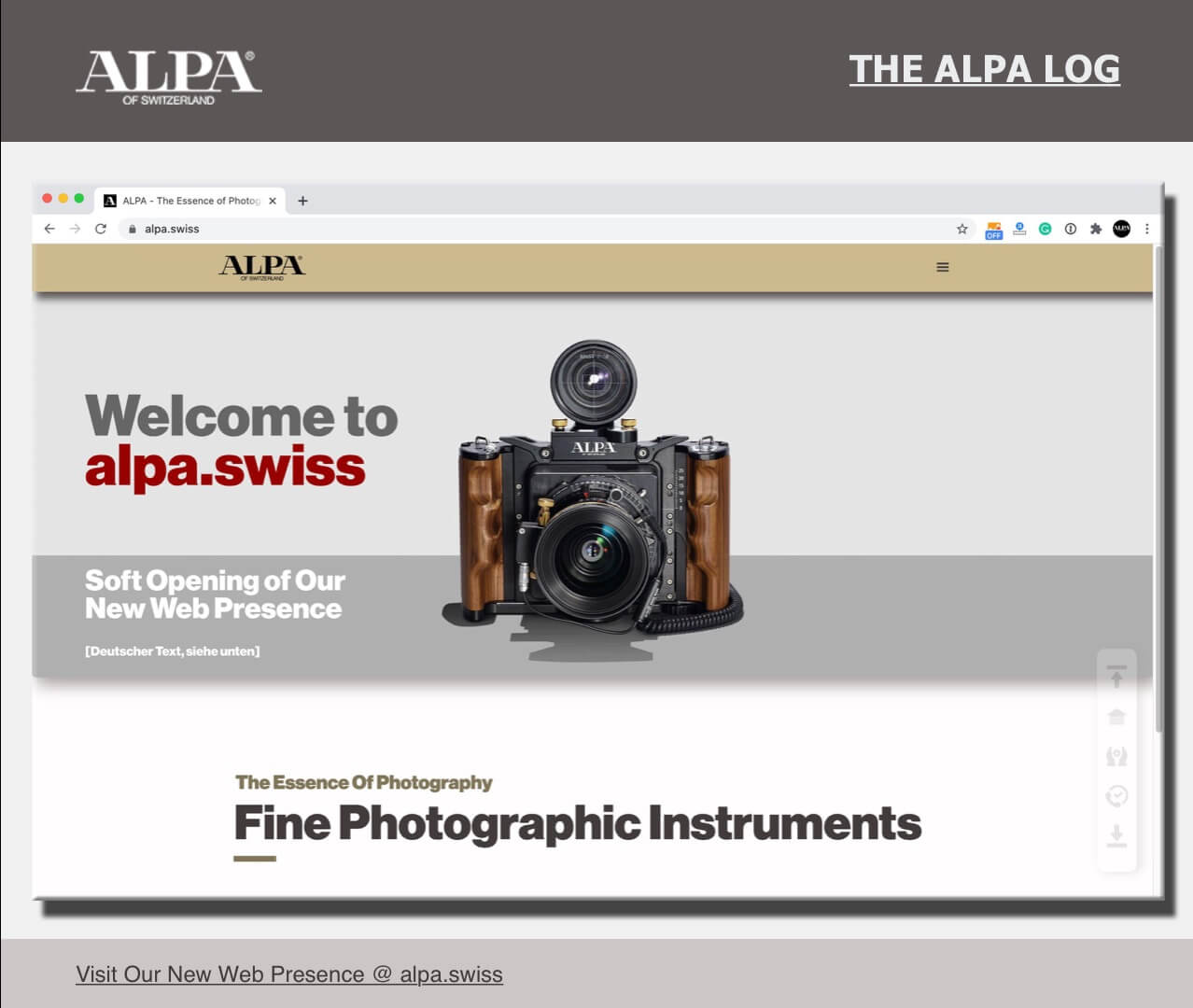 [The ALPA Log] Welcome to alpa.swiss - Willkommen bei alpa.swiss