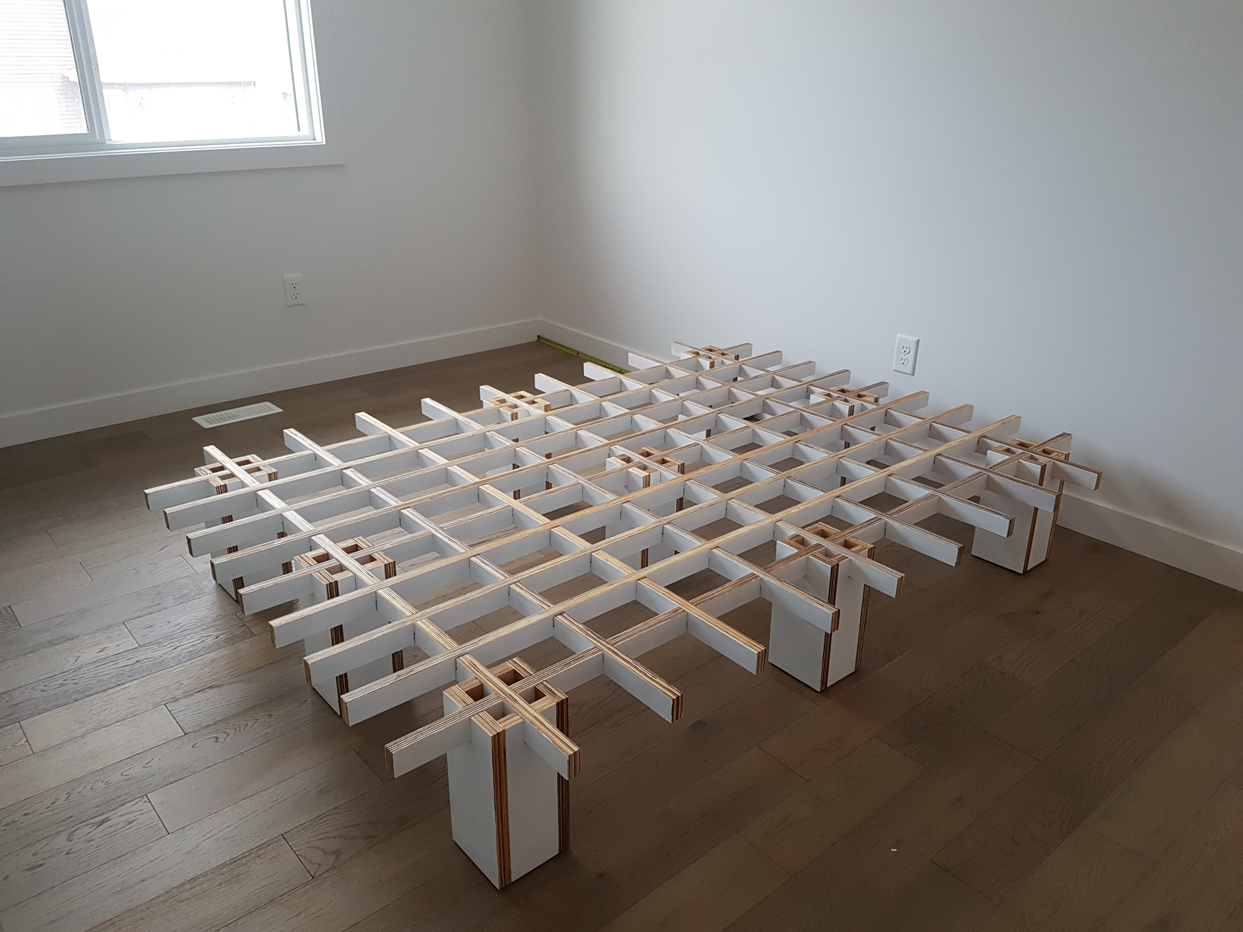 Tic Tac Toe bed frame in custom white paint colour