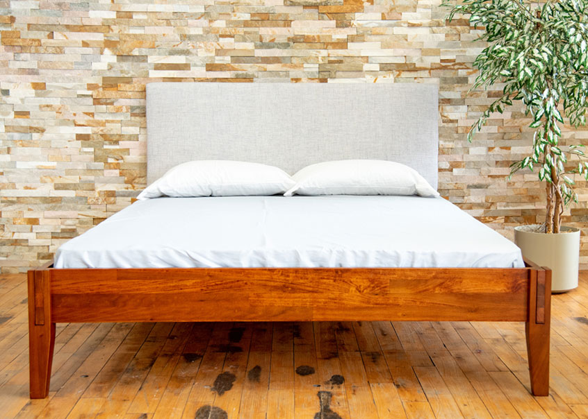 Full view of Rustic bed frame.