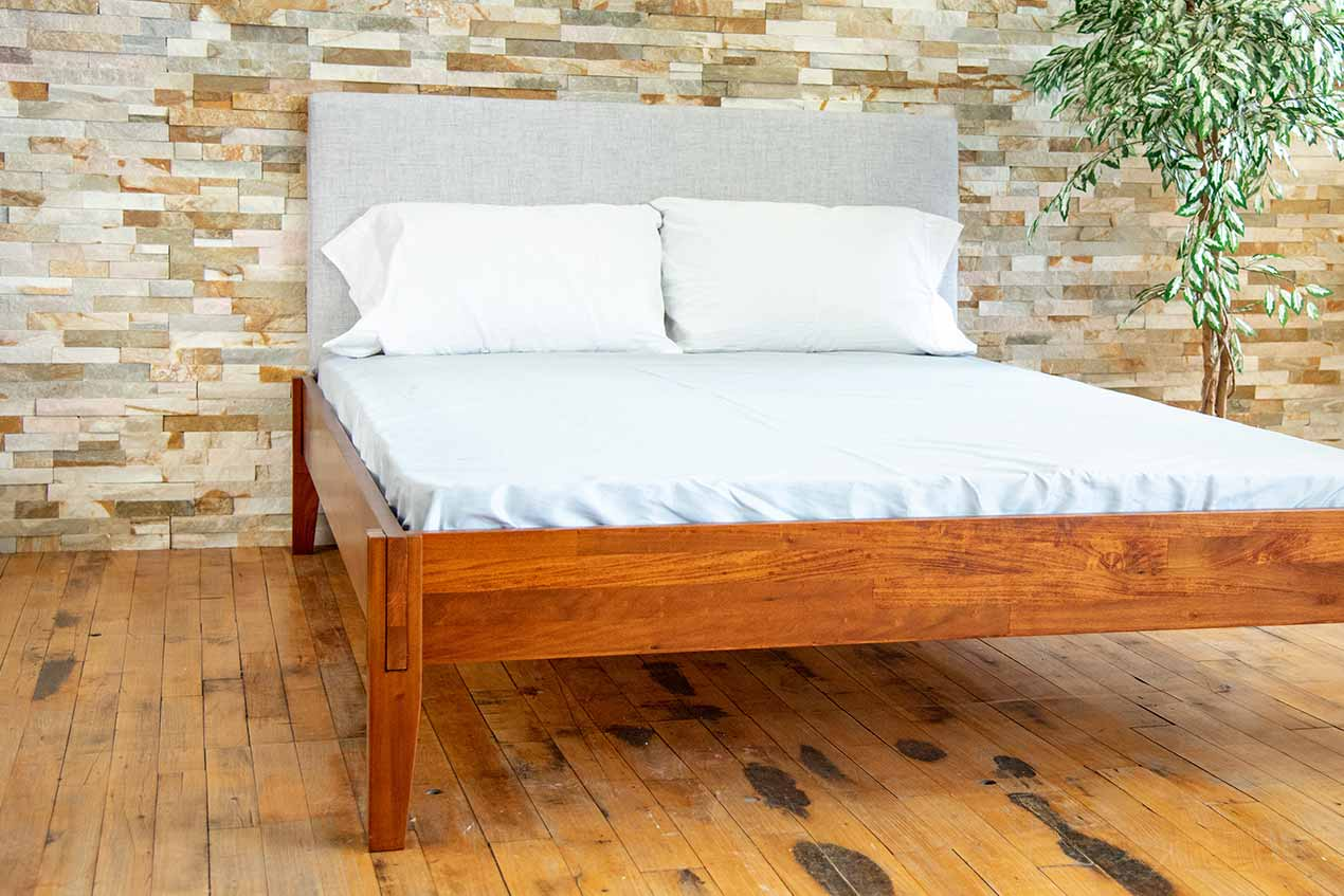 Angled photos of Rustic bed frame.
