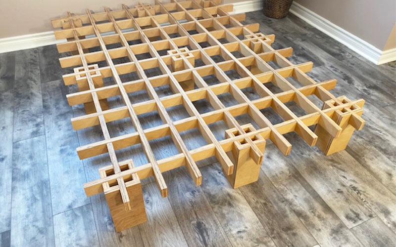 The Tic Tac Toe bed frame. Could be an heirloom!