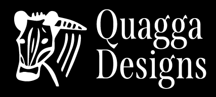 White Quagga Designs logo with black background.