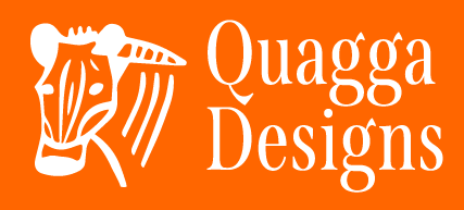 White Quagga Designs logo with orange background.