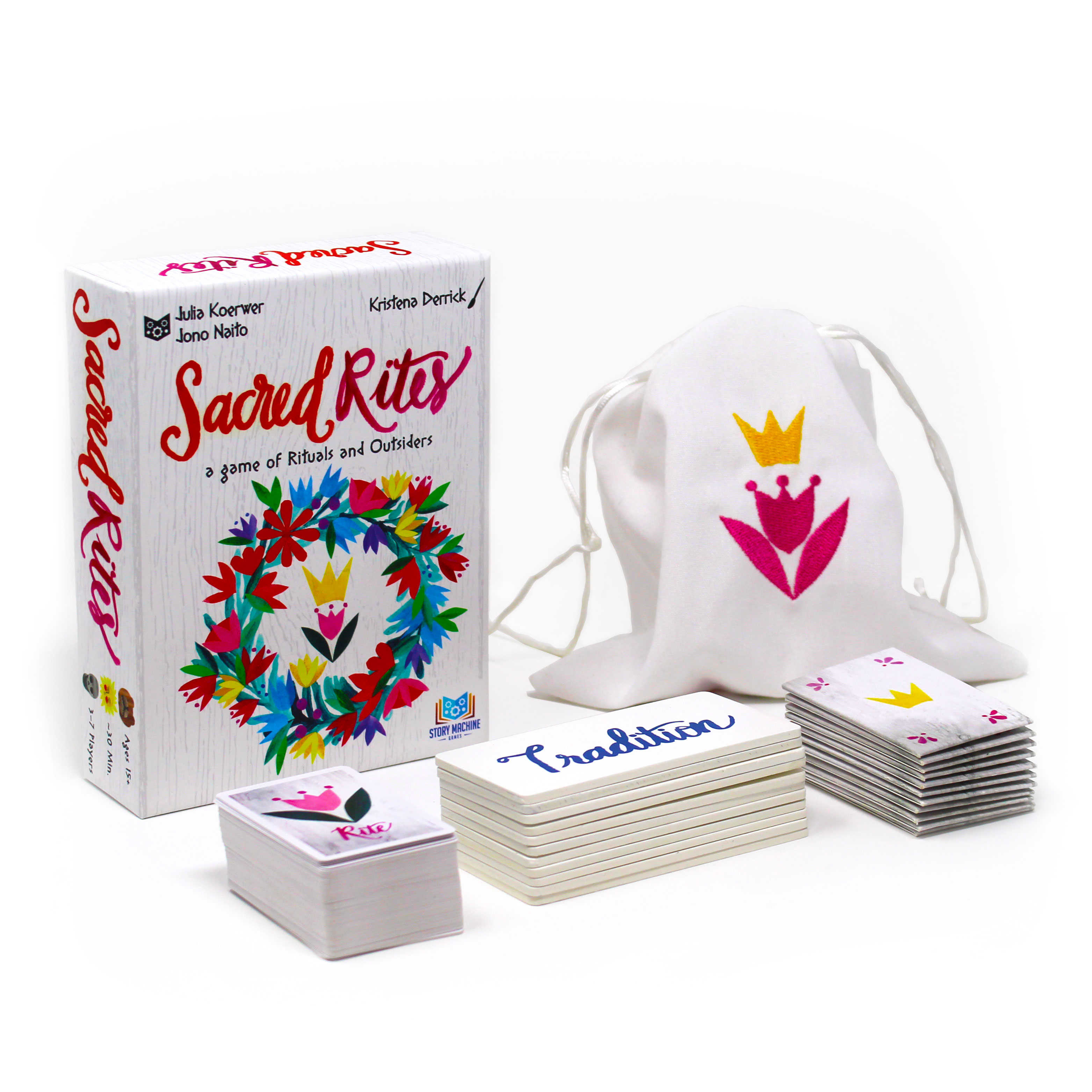The components of Sacred Rites - box, cards, tiles, envelopes, and embroidered cloth bag.