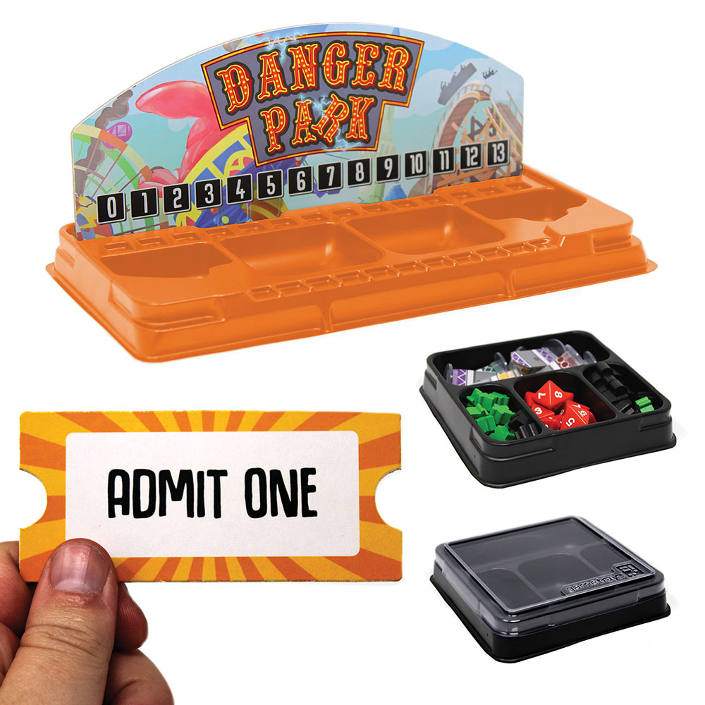 Component storage trays and an admit one token for the board game Danger Park.
