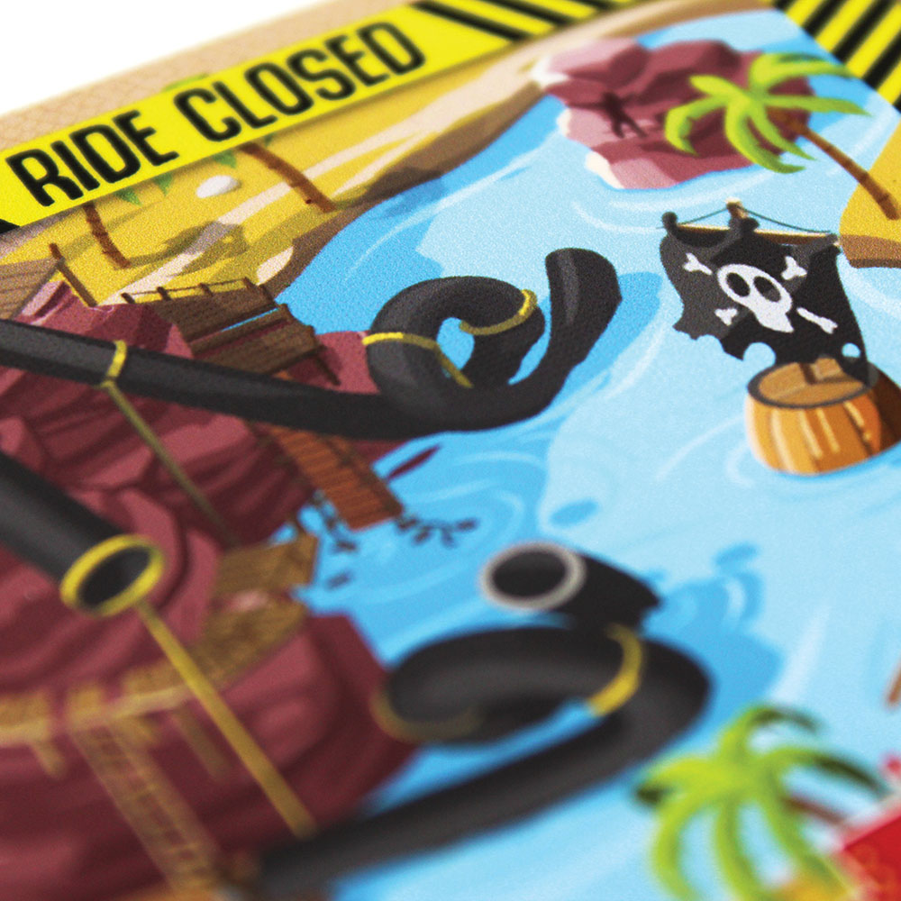 A close-up picture of a ride from the board game Danger Park.