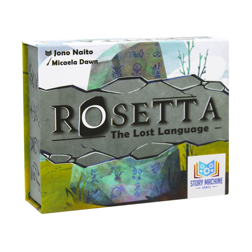 The box for the board game Rosetta: The Lost Language.