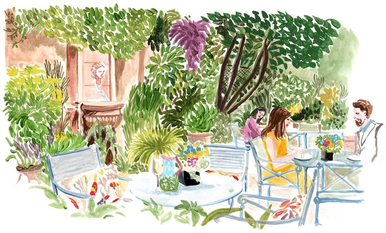 Dessin aquarelle d'un jardin fleuri avec une fontaine et un couple attablé prenant un verre