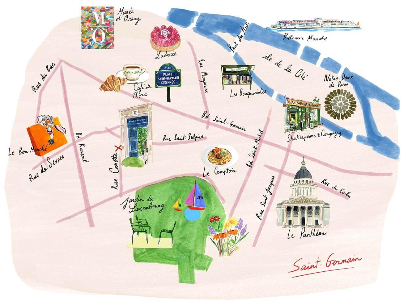 Carte illustrée de Saint-Germain