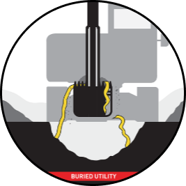 Diagram of Signaltape Professional Grade underground warning tape in use