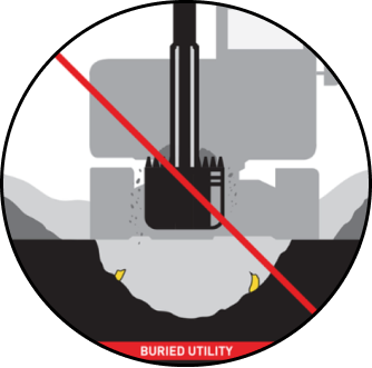Diagram of traditional underground nondetectable marker tape performance