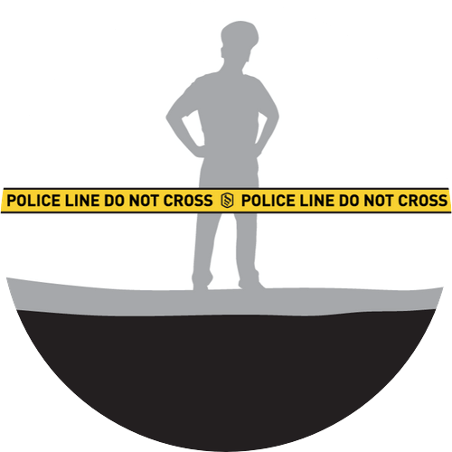 Diagram of barricade tape in use