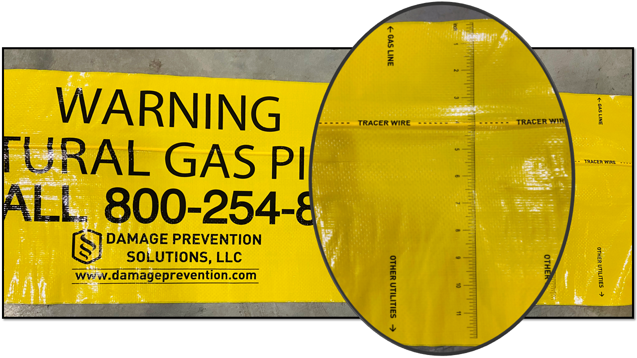 Tracer wire natural gas compliant underground marking tape