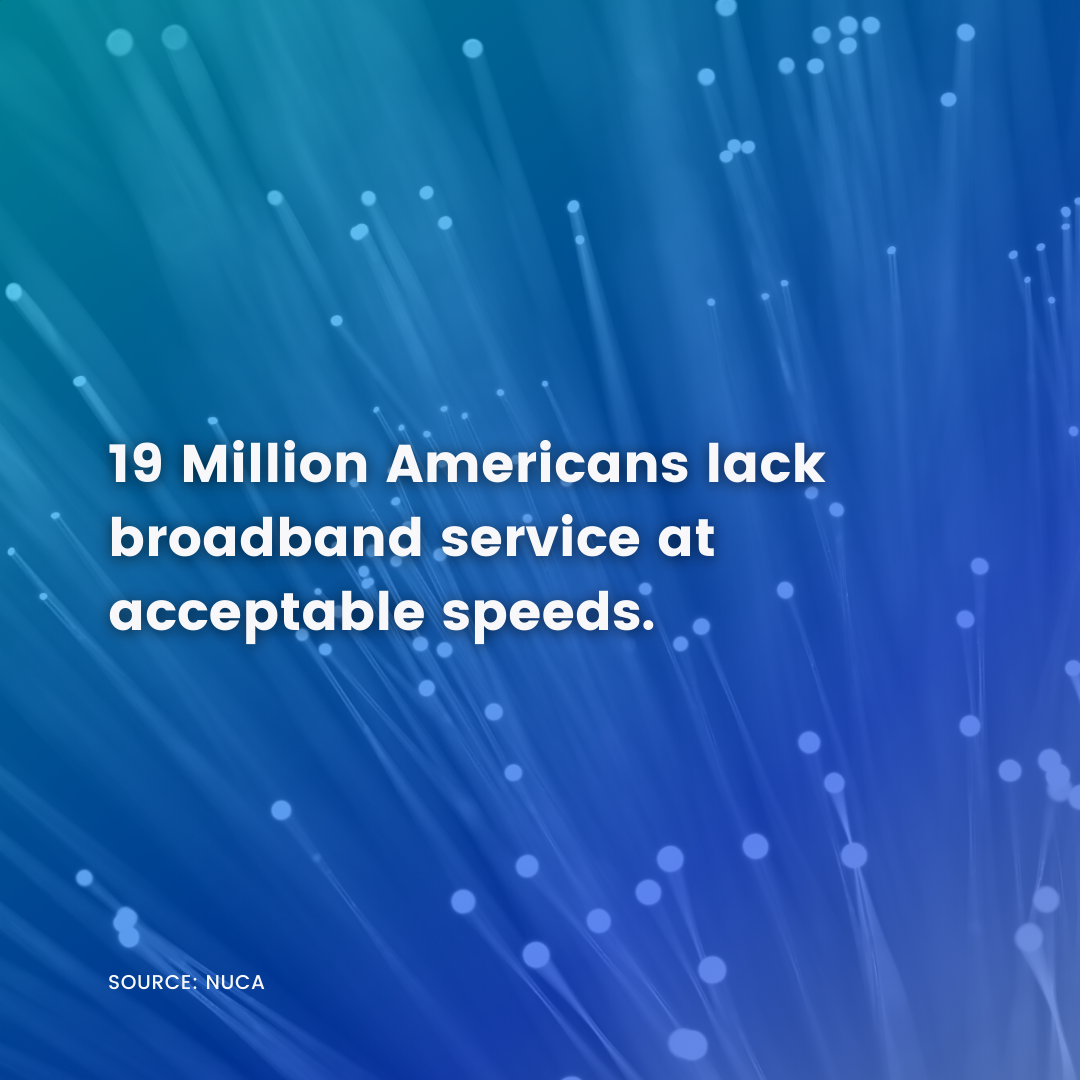 19 million Americans lack broadband services at acceptable speeds.