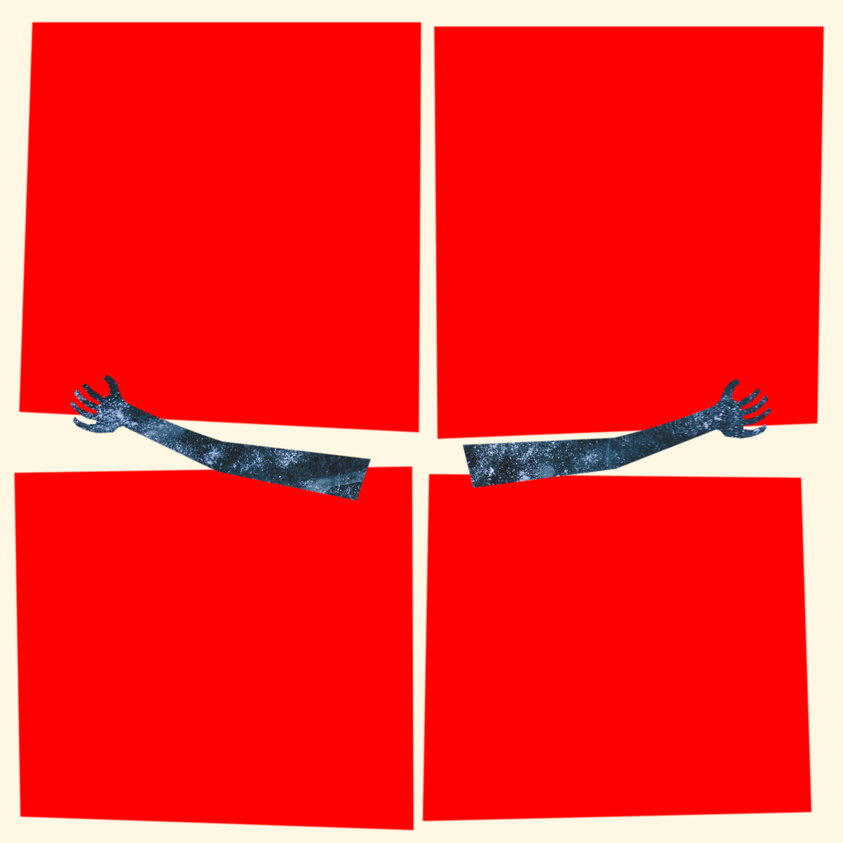 red squares and arms in the shape of a crucifix