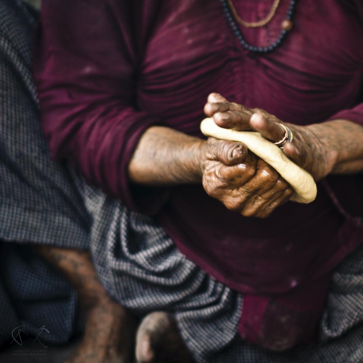 Bread, hands kneading bread