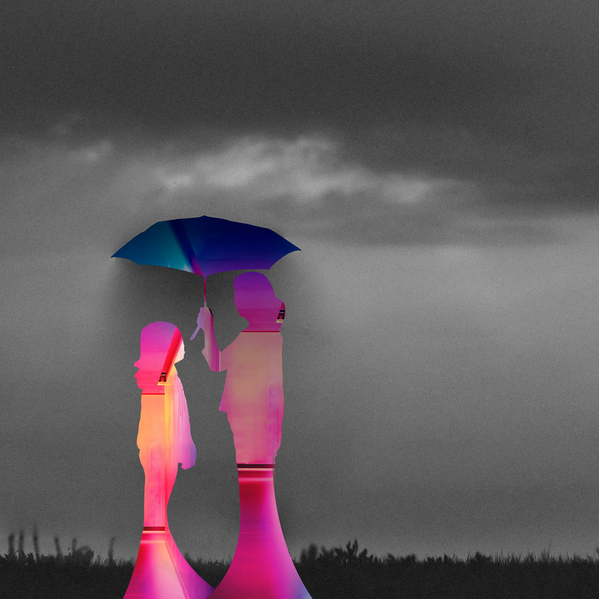 Mother, daughter under umbrella, colorful silhouettes