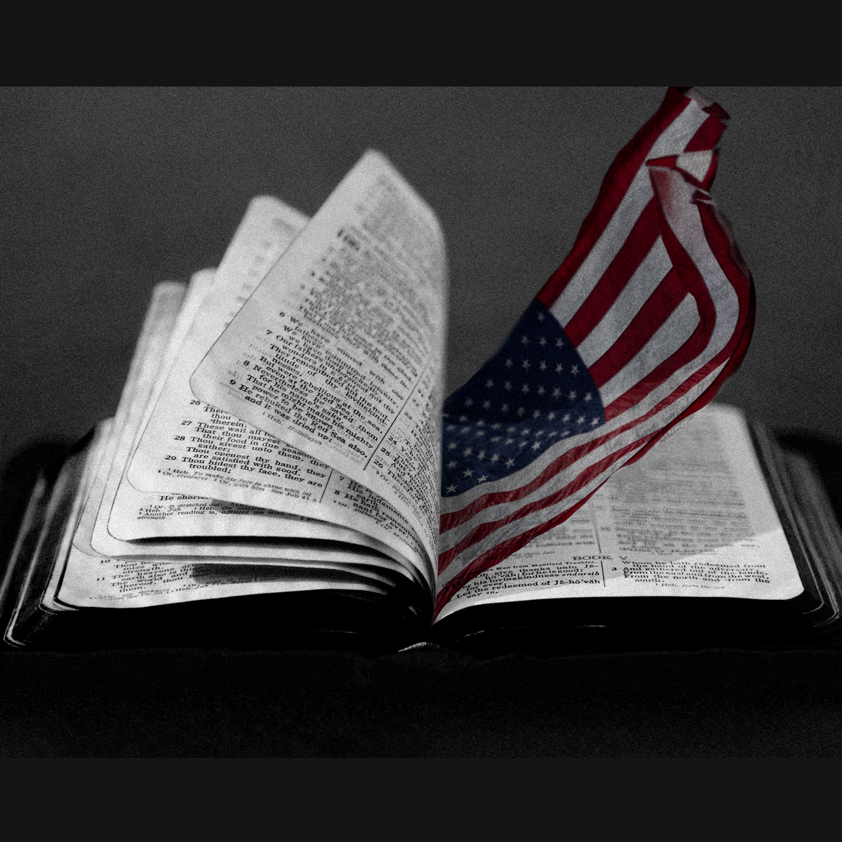 Bible, Pages, Flag in Bible's pages