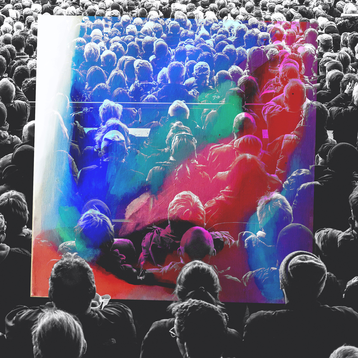 Crowd, colorful overlay