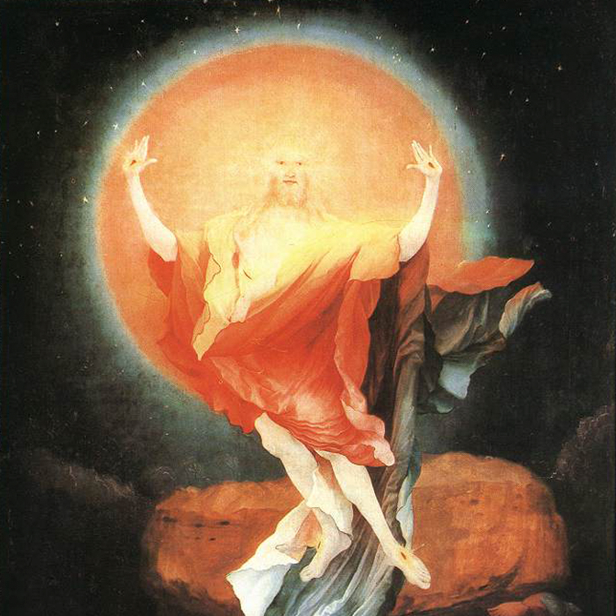 "Matthias Grünewald, ""Resurrection panel from the Isenheim Altarpiece"" (1512-1516)"