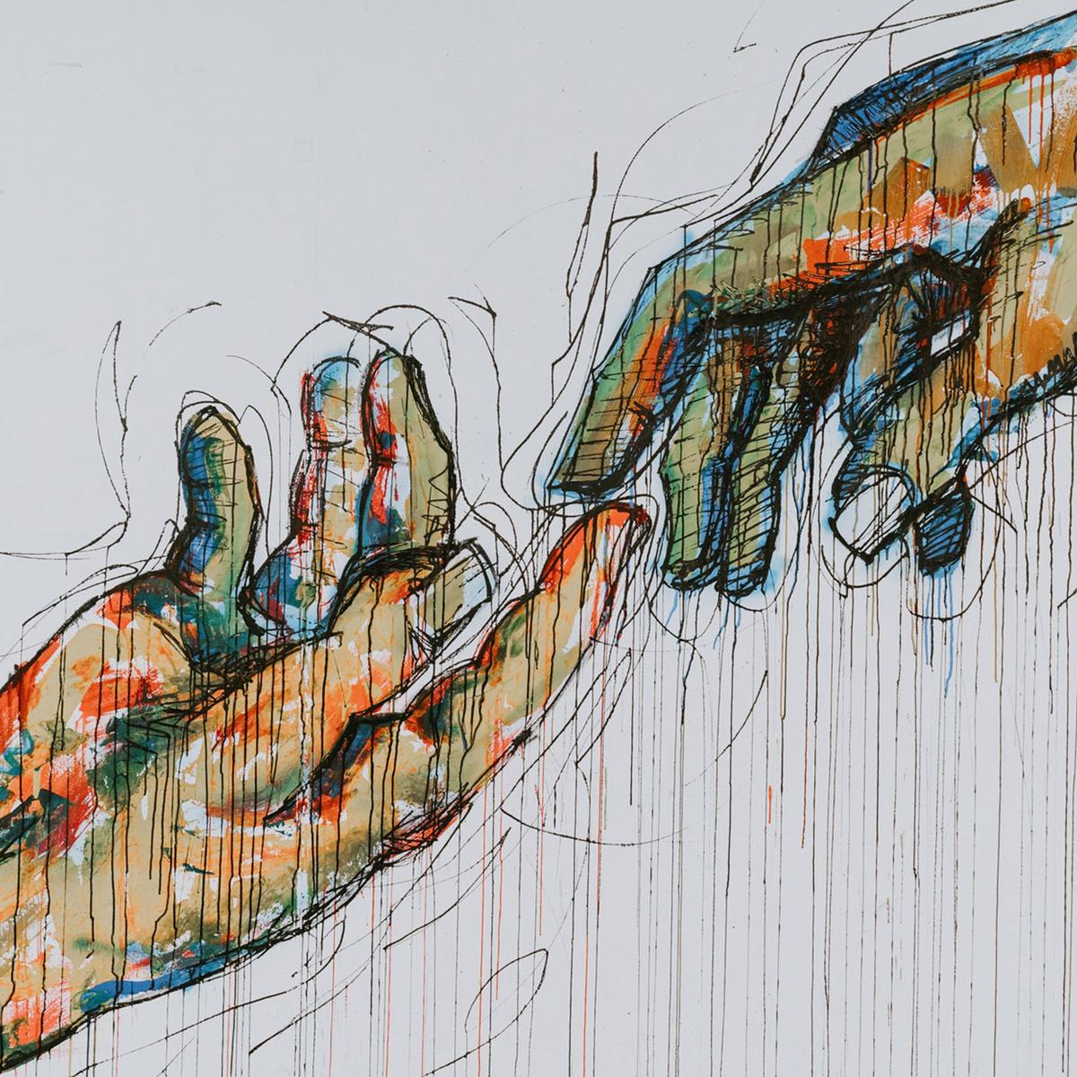 Hands reaching toward eachother