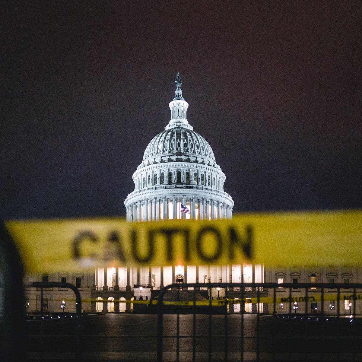 Capitol building with caution tape